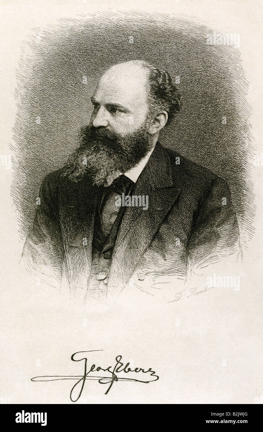 Ebers, Georg Moritz, 1.3.1837 - 7.8.1898, German author / writer, portrait, engraving, by D. Raab, Munich, Germany, - Stock Image