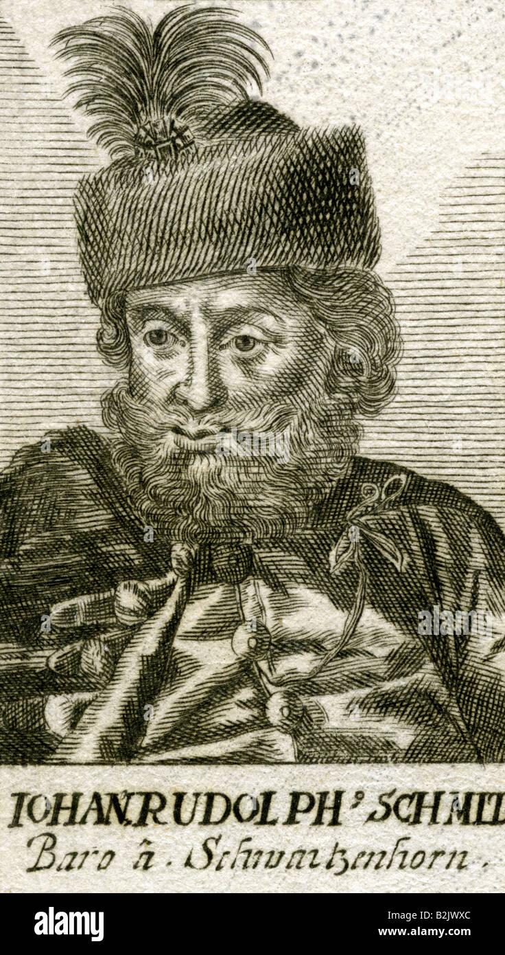 Schmid von Schwarzenhorn, Johann Rudolf, 1590 - 12.4.1667, Austrian diplomat, portrait, copper engraving, 17th century,Stock Photo