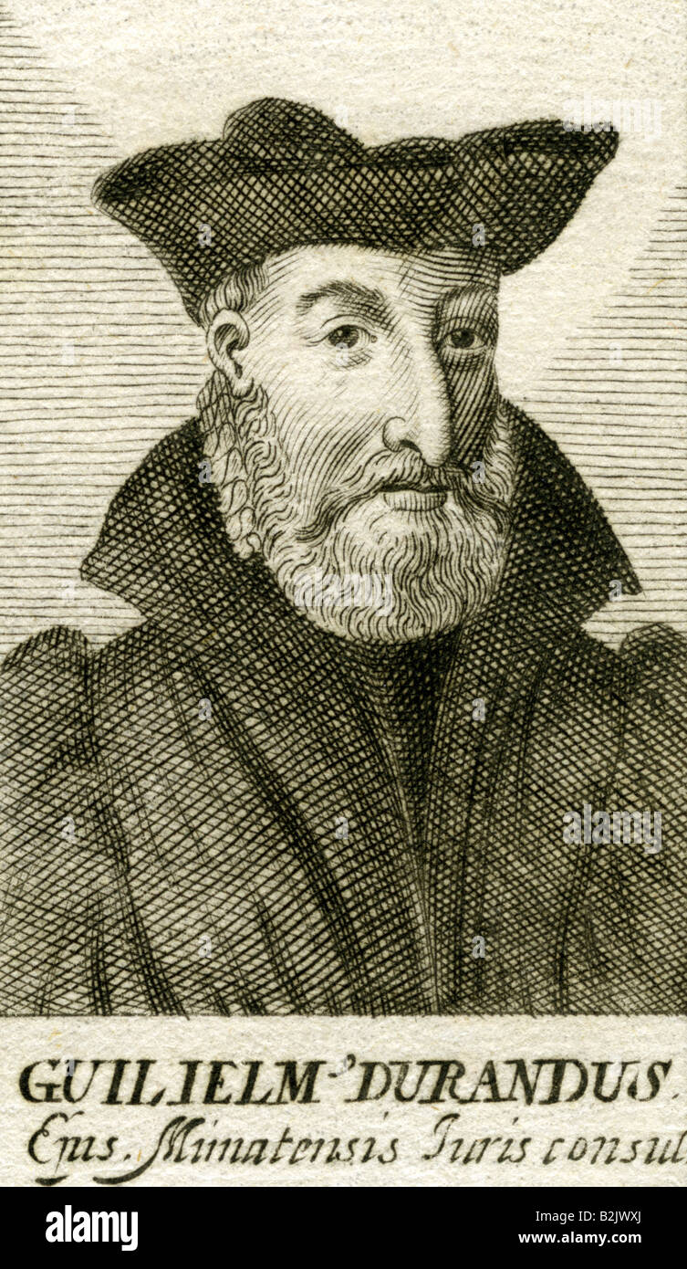 Durand, Guillaume, circa 1230 - 1.11.1296, French jurist, bishop, portrait, copper engraving, 17th century, Artist's - Stock Image