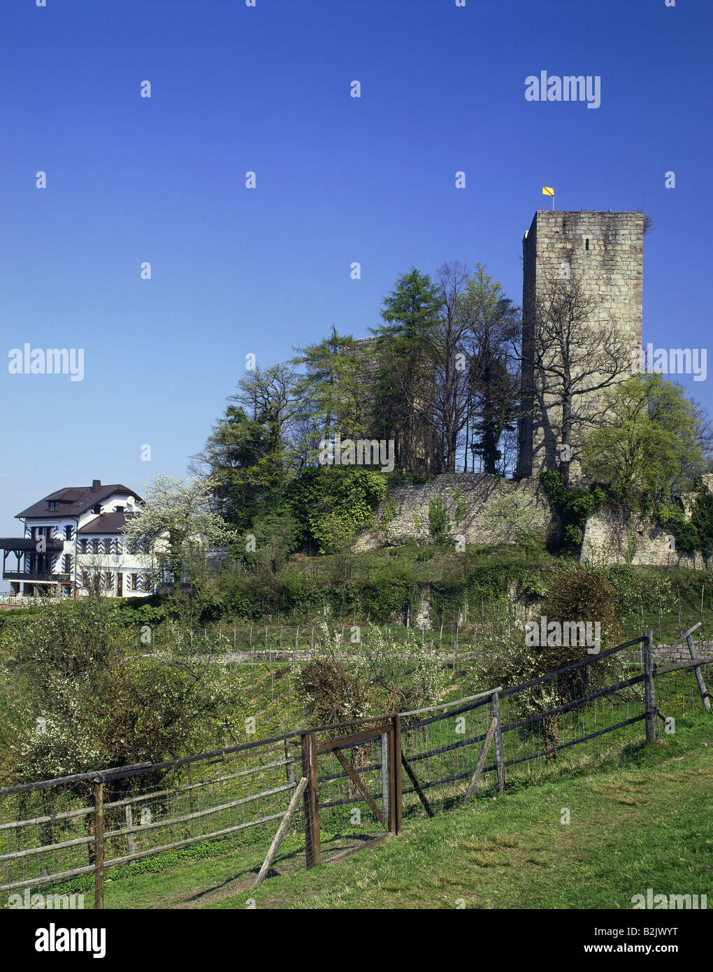 geography / travel, Germany, Baden-Wuerttemberg, Buehl, castles, Windeck Castle, built: circa 1200, exterior view, - Stock Image