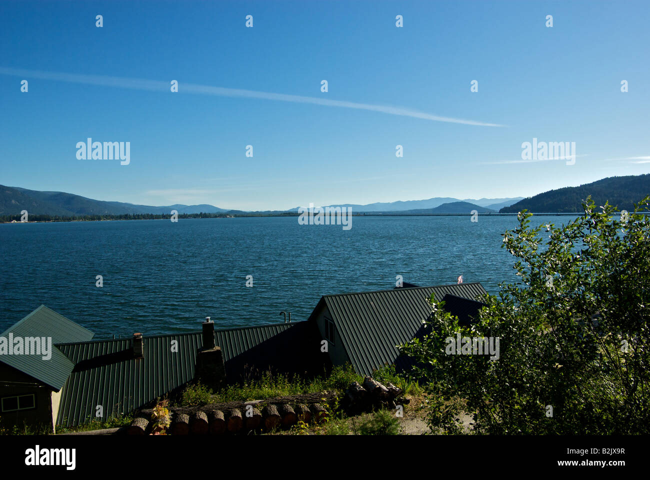 View of Lake Pend Oreille and Long Bridge at Sandpoint - Stock Image