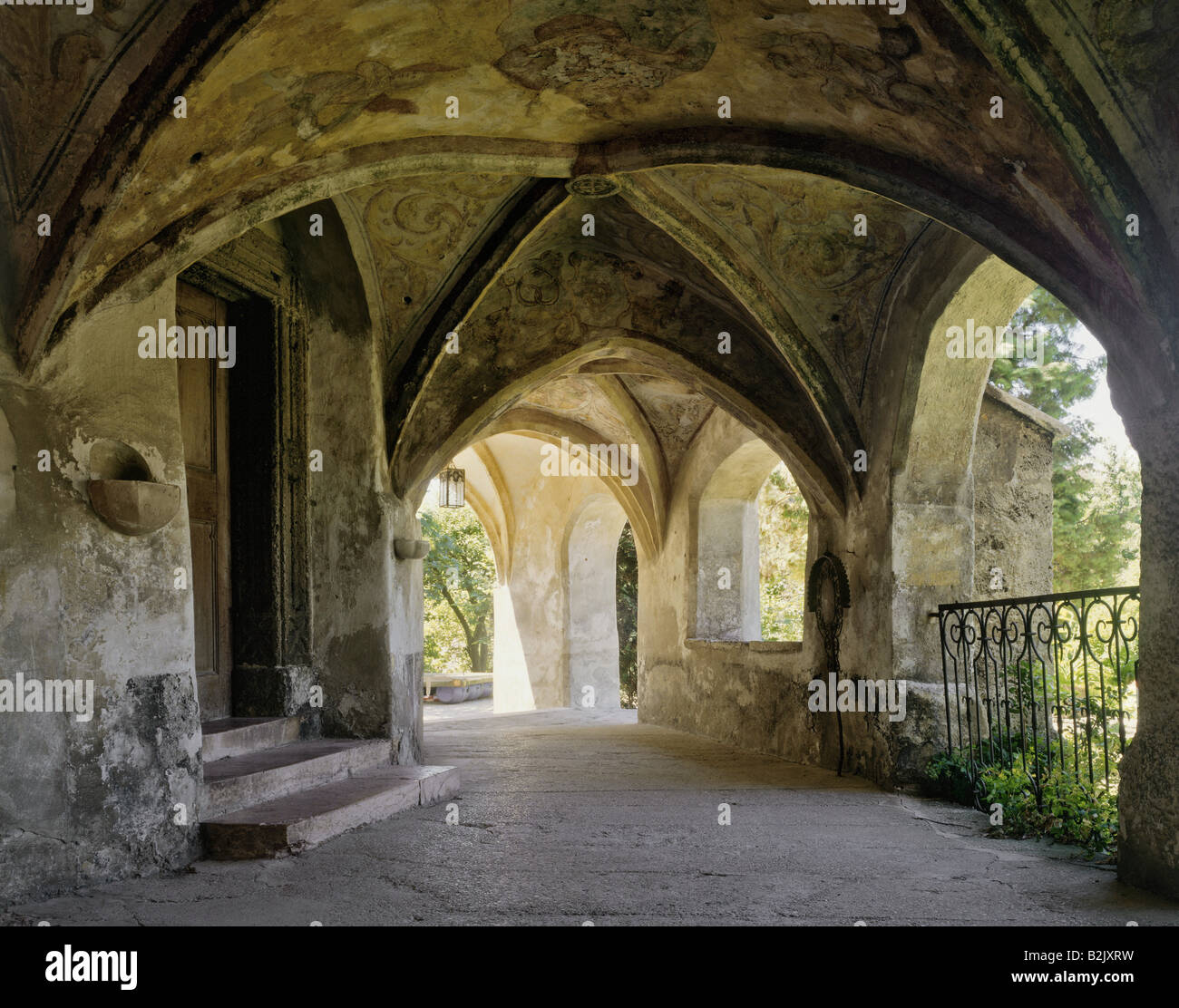 geography / travel, Germany, Bavaria, Laufen, churches, Stiftkirche Mariae Himmelfahrt, interiour view, cloister, - Stock Image