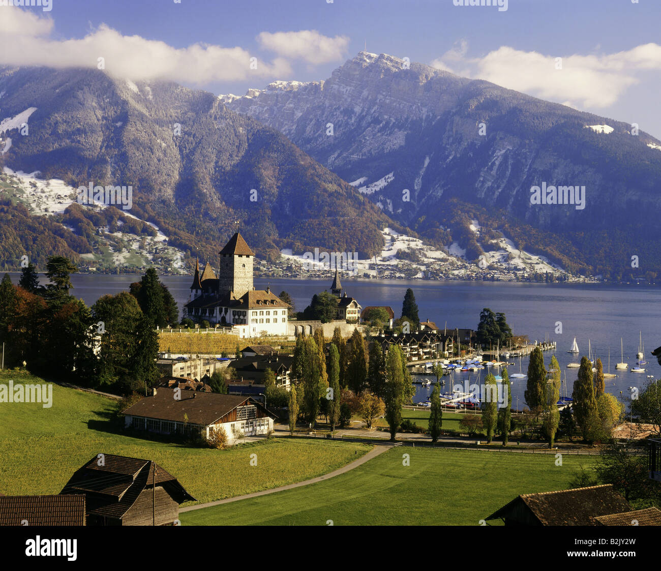 geography / travel, Switzerland, Bern, Spiez, city views, Spiez Castle, Lake Thun, Bernese Alps, Additional-Rights Stock Photo