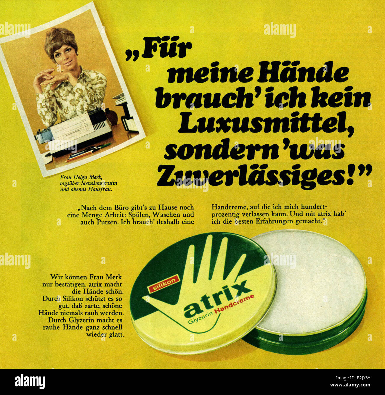 advertising, cosmetics, atrix hand cream, advertisement, 1970s, Additional-Rights-Clearances-NA - Stock Image