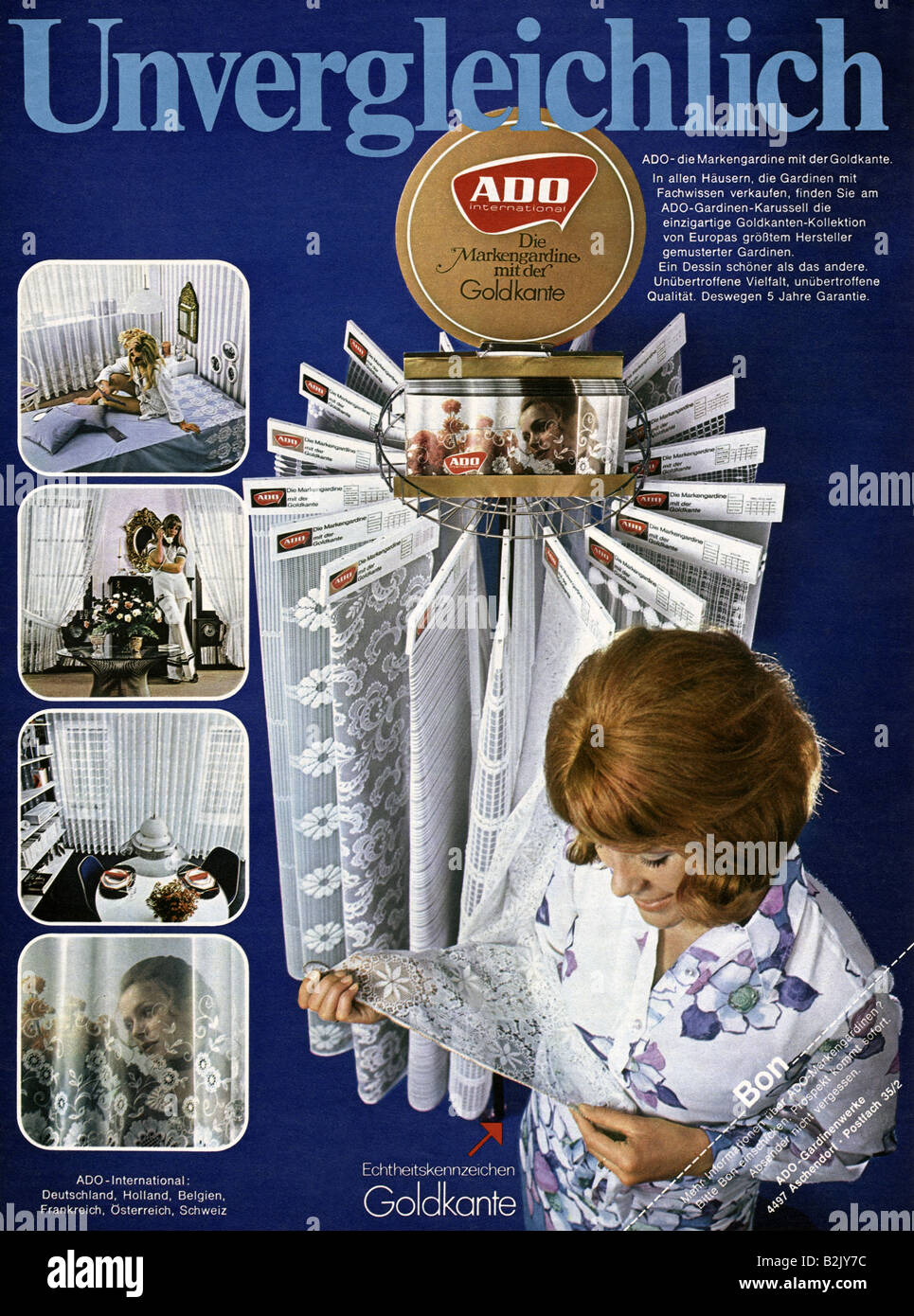 advertising, textile, ADO net curtain with golden edge, advertisement, 1970, Additional-Rights-Clearances-NA Stock Photo