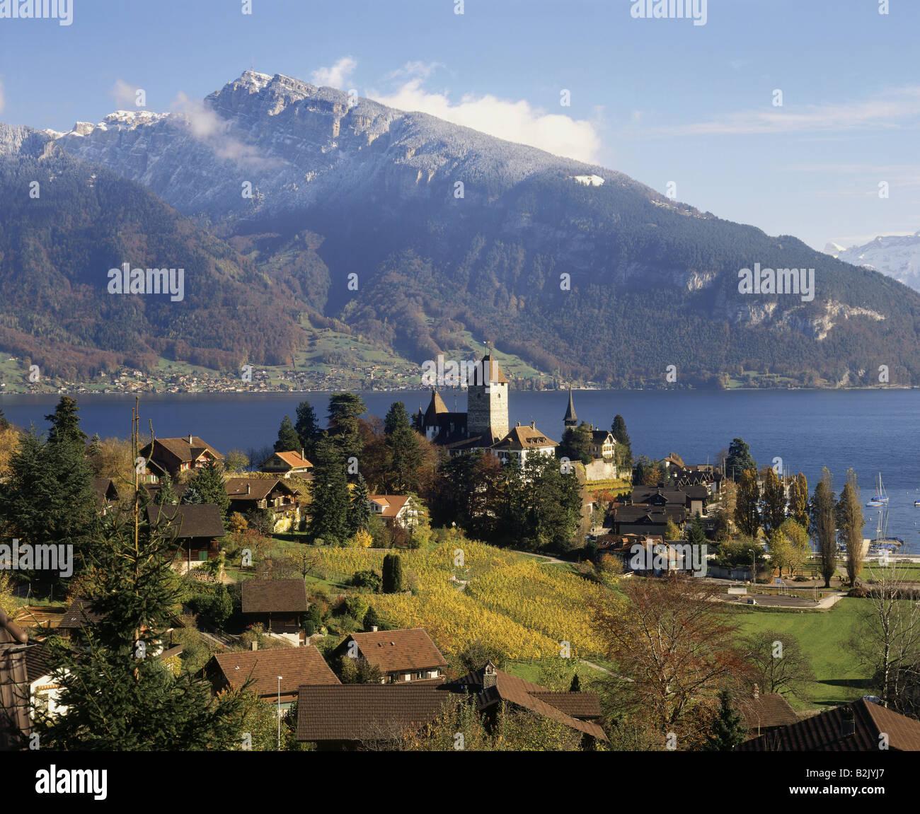 geography / travel, Switzerland, Bern, Spiez, city views, Spiez Castle, Lake Thun, Bernese Alps, Additional-Rights Stock Photo
