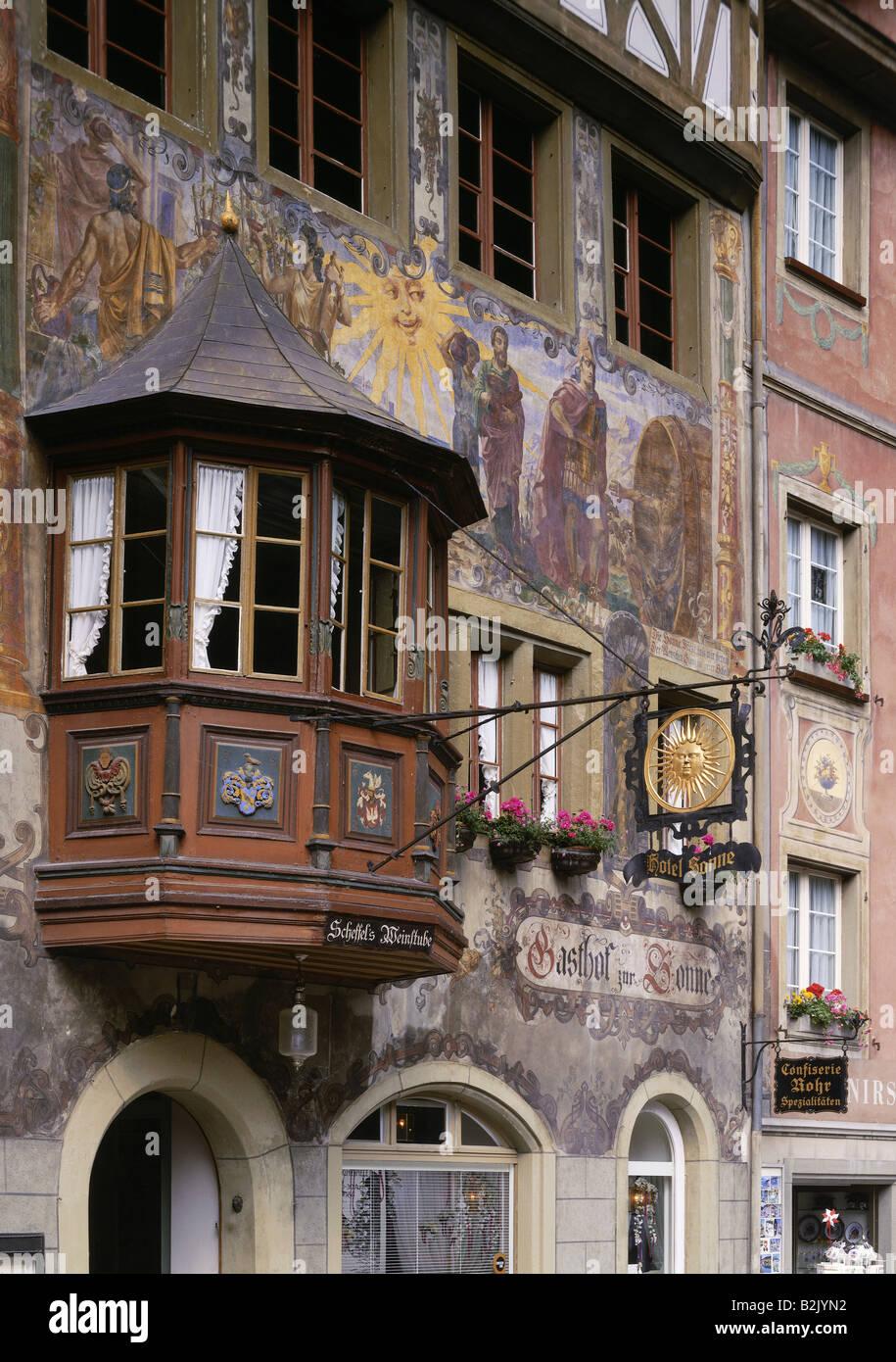 """geography / travel, Switzerland, Schaffhausen, Stein am Rhein, gastronomy, guesthouse, """"Zur Sonne"""", exterior view, Stock Photo"""