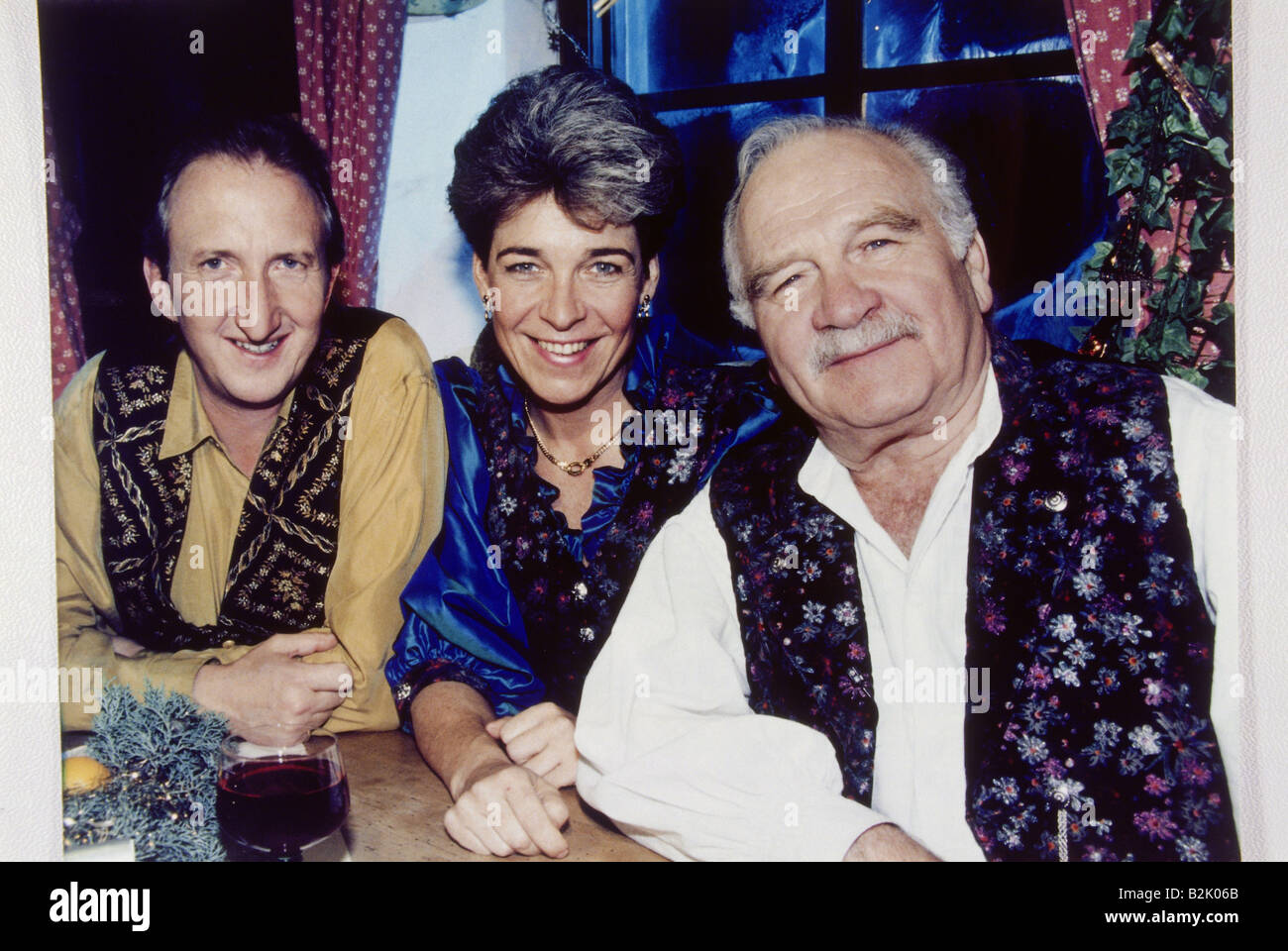 Steiner, Peter, 6.9.1927 - 22.12.2008, German actor, half length, with Mike Krüger and daughter Gerda, during - Stock Image