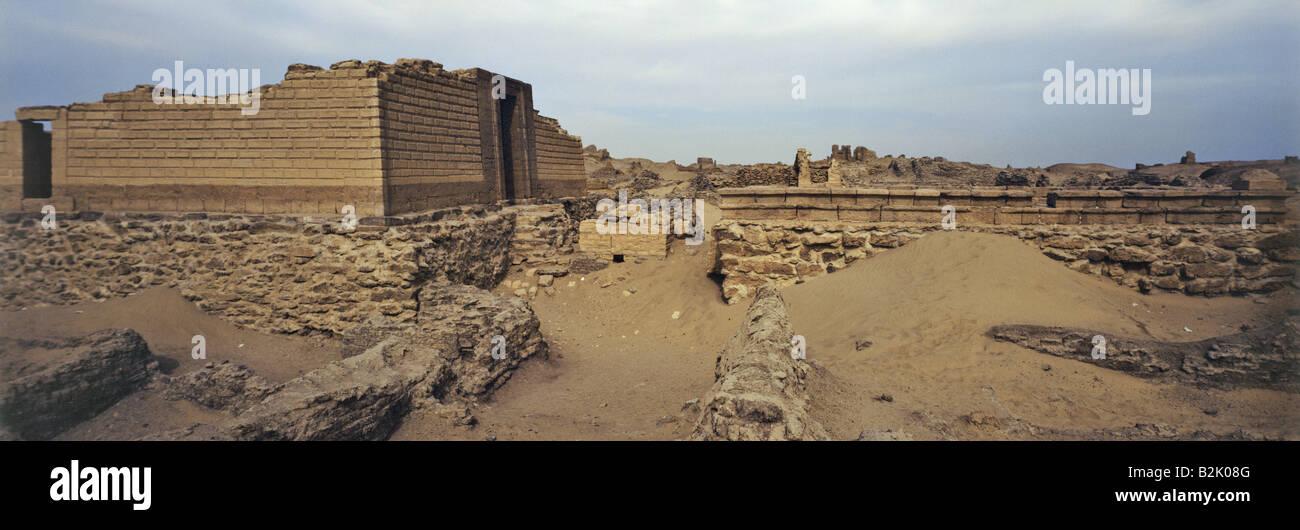 geography / travel, Egypt, Kom Aushim, Greek city Karanis, temple of gods Pnepheros und Petsuchos, built 3rd century - Stock Image