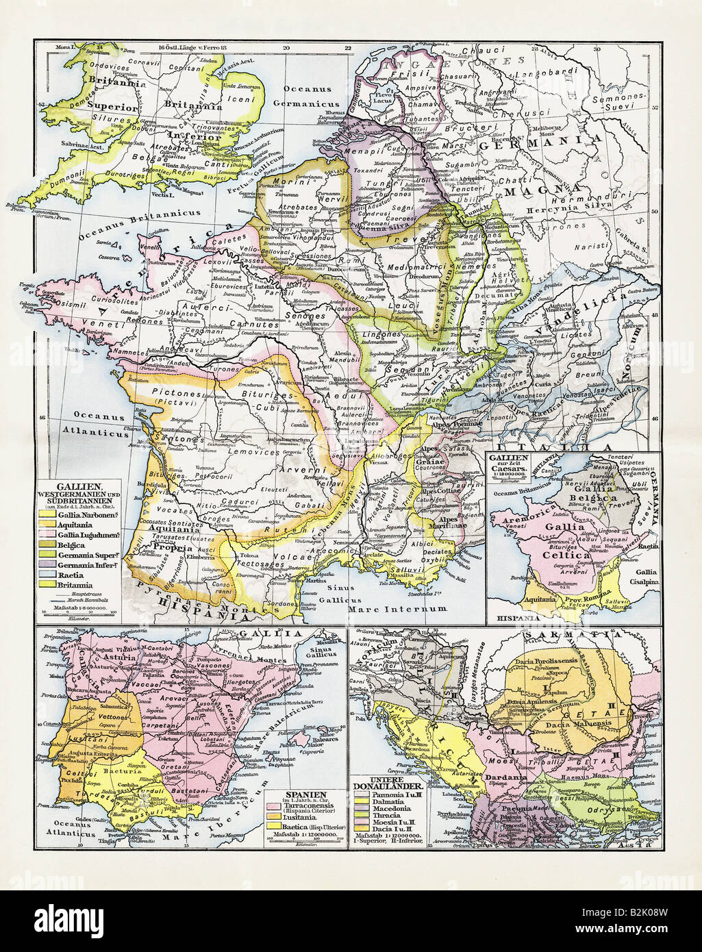 cartography, historical maps, ancient world, Roman Empire, European provinces, 1st - 3rd century AD, F. W. Putzger, - Stock Image