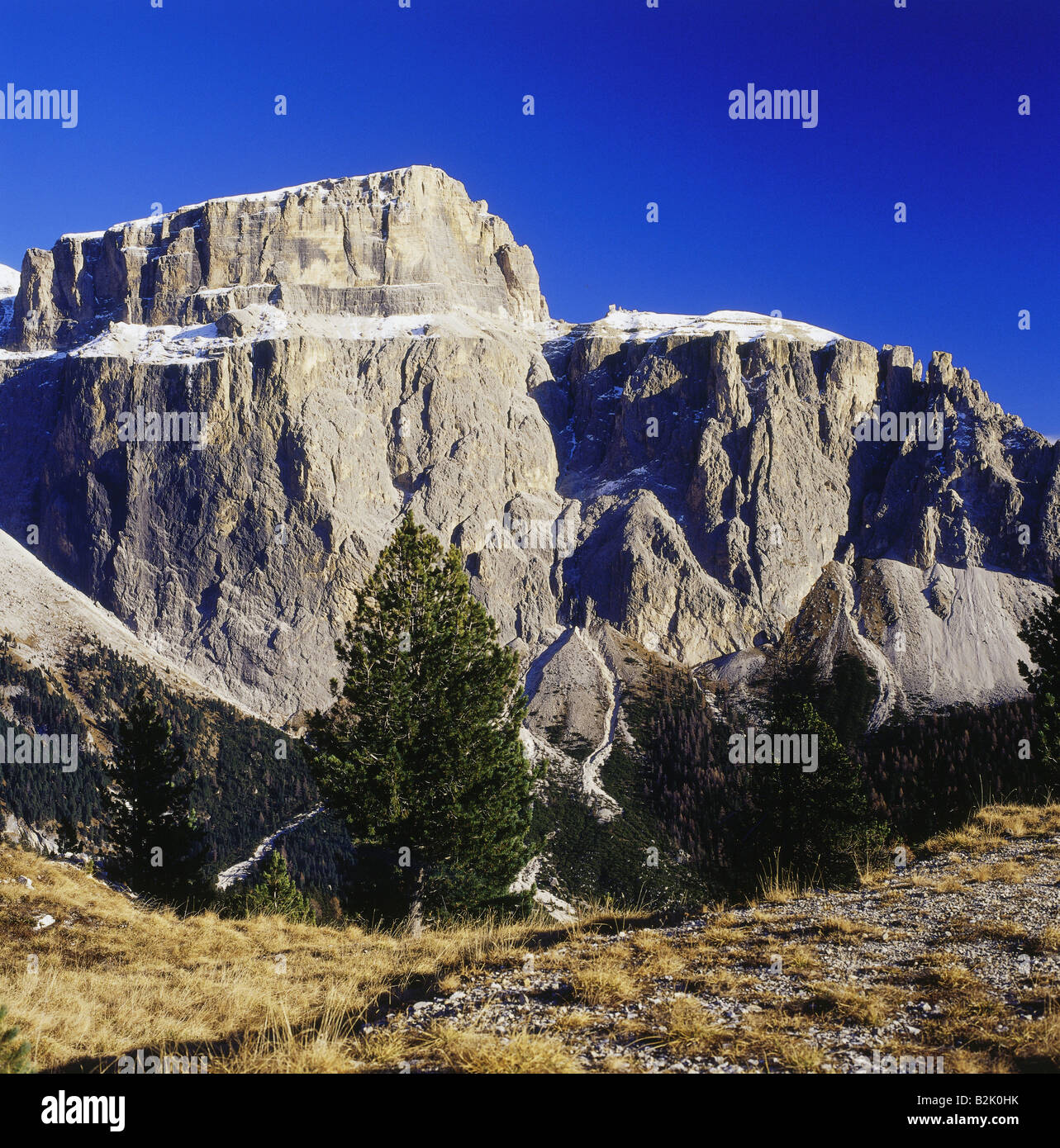 geography / travel, Italy, South Tyrol, landscapes, Dolomites, Sass Pordoi, Sella Massif, view from Sella pass, - Stock Image