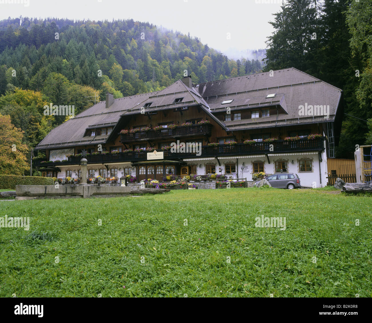architecture, farmhouses, Germany, Baden-Wuerttemberg, Black Forest House, Sternen Hotel, exterior view, Hoellental, - Stock Image