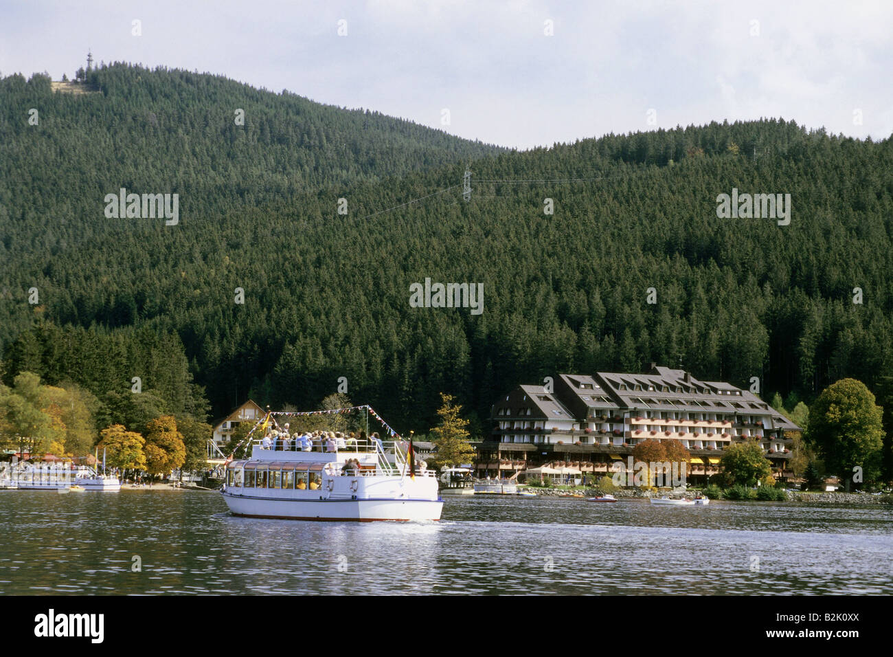 geography / travel, Germany, Baden-Württemberg, tourist ship on Titisee in Black Forest, Südschwarzwald - Stock Image