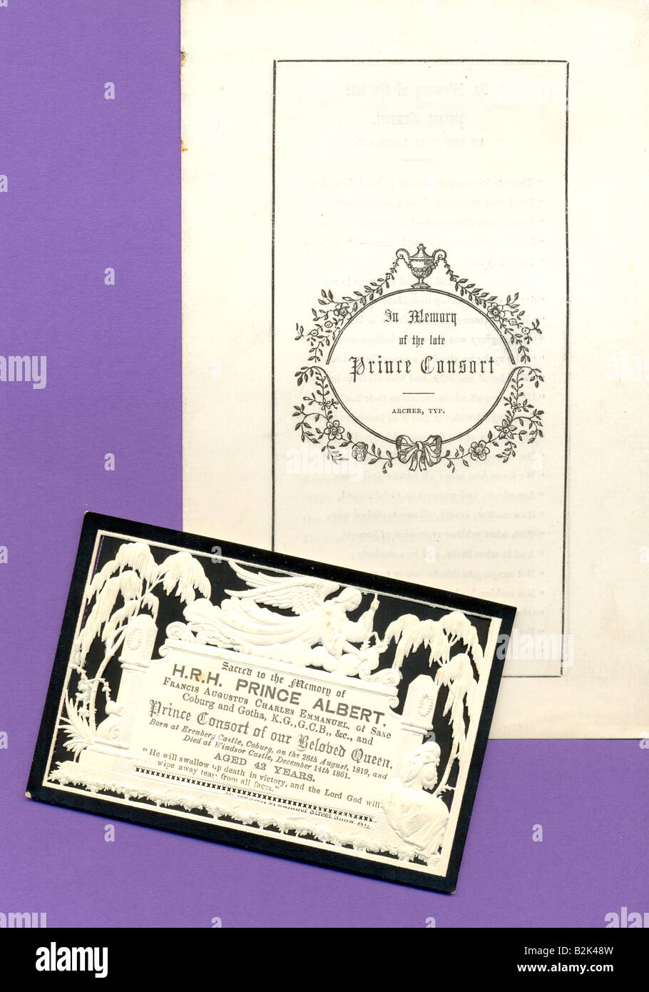 Mourning card and Poet Laureate's lament for death of Prince Albert 1861 - Stock Image