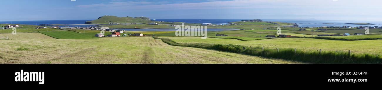 Sumburgh Head and Sumburgh Airport, South Mainland, Shetland Isles, Scotland, UK Stock Photo