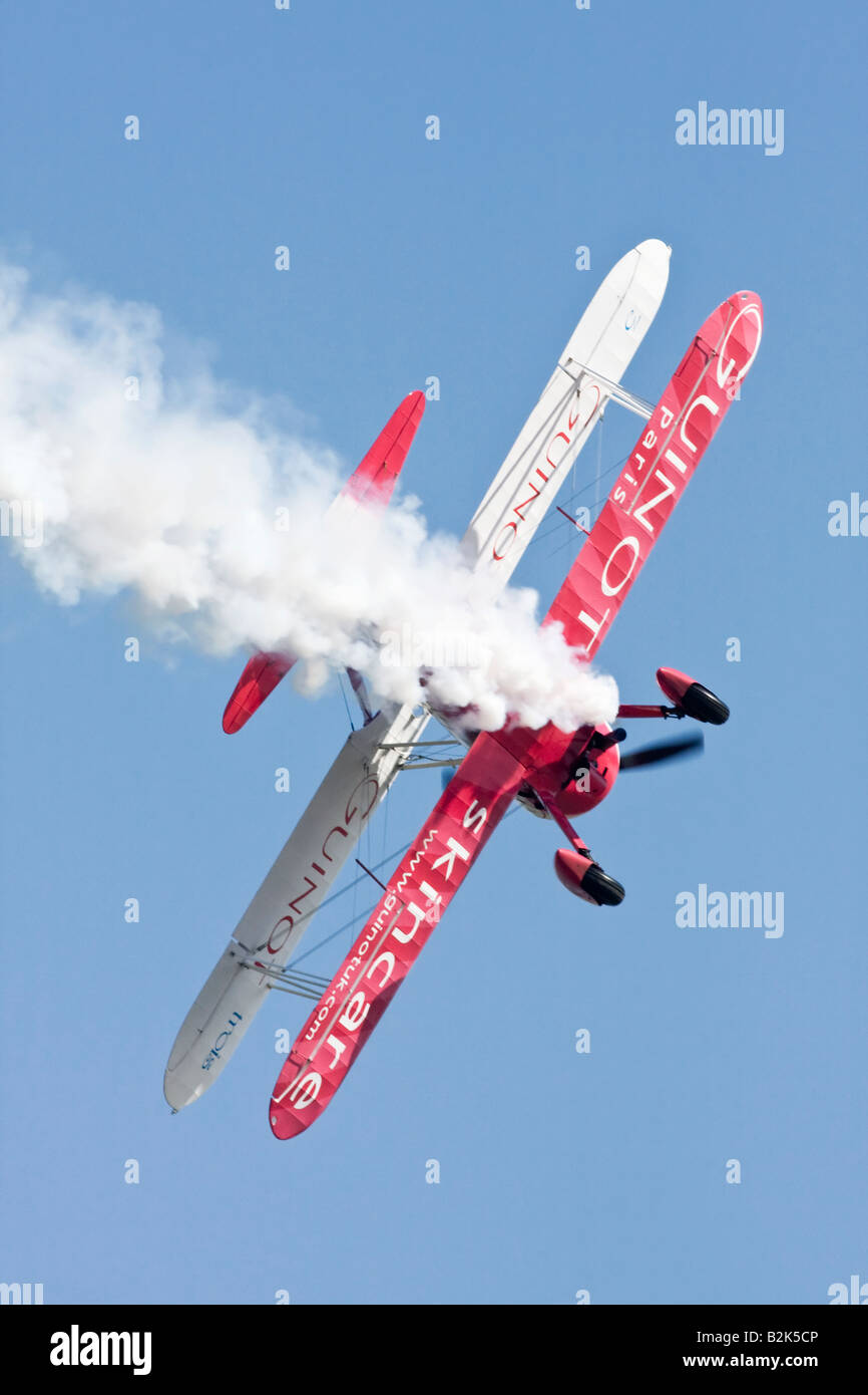 A Boeing PT17 Stearman of the UK s Guinot aerobatic team - Stock Image