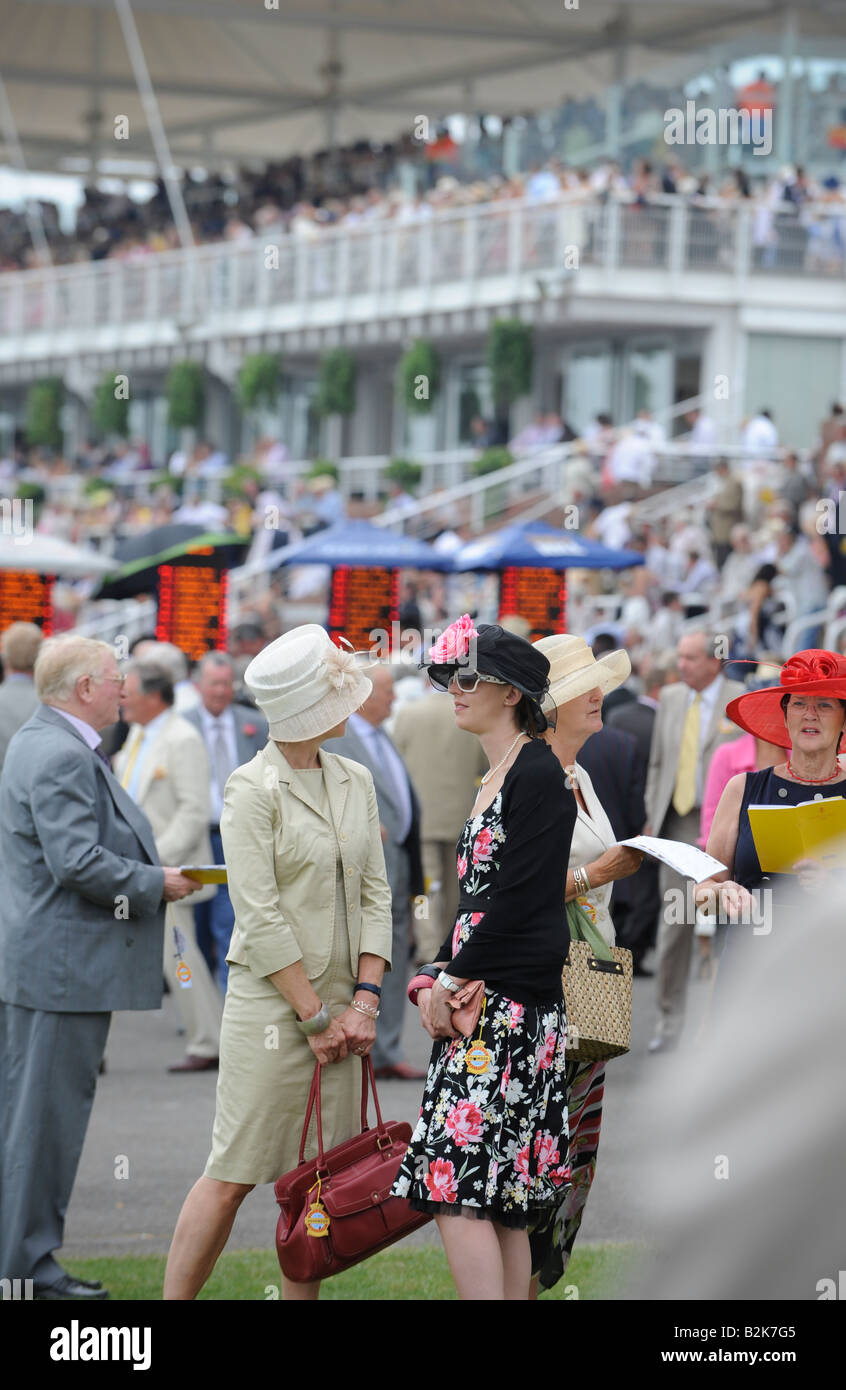 Glorious Goodwood: crowds pack the stands on the popular ladies day. - Stock Image