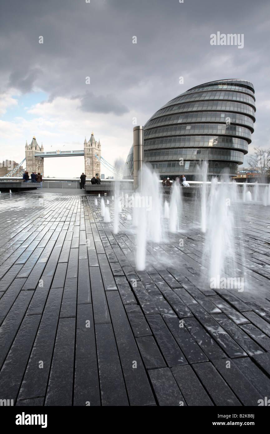 London Assembly and Tower Bridge, England, UK. - Stock Image