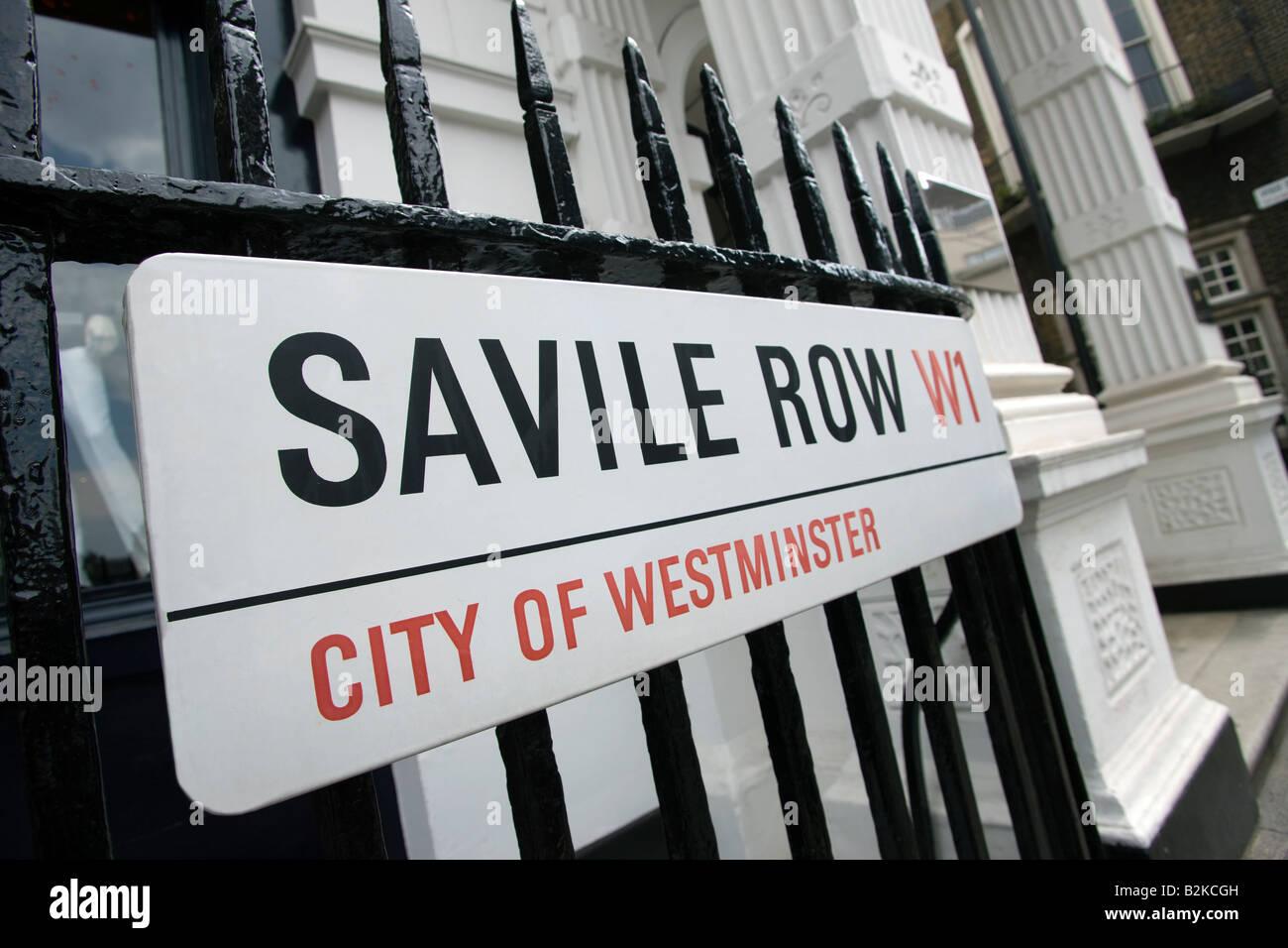 SAVILLE ROW  MAYFAIR LONDON ENGLAND UK - Stock Image
