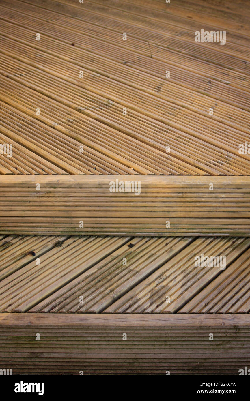 Timber decking detail - Stock Image