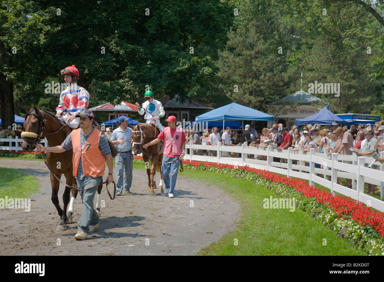 Horses and jockeys in paddock moments before racing at Saratoga Race Track Saratoga Springs New York State - Stock Image