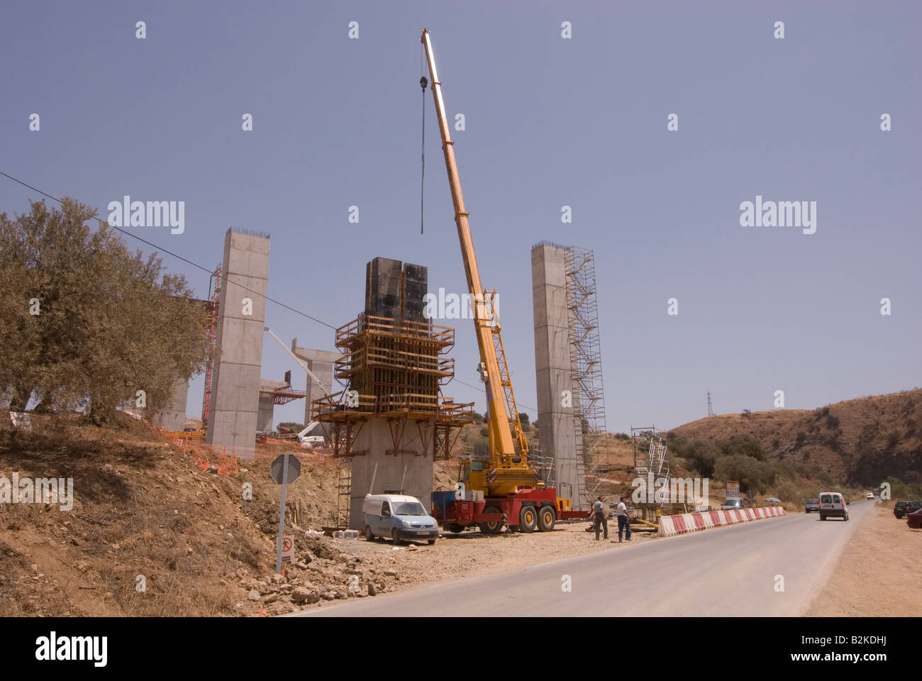 Building the new AP 46 motorway near Casabermeja, Andalucia, Spain - Stock Image