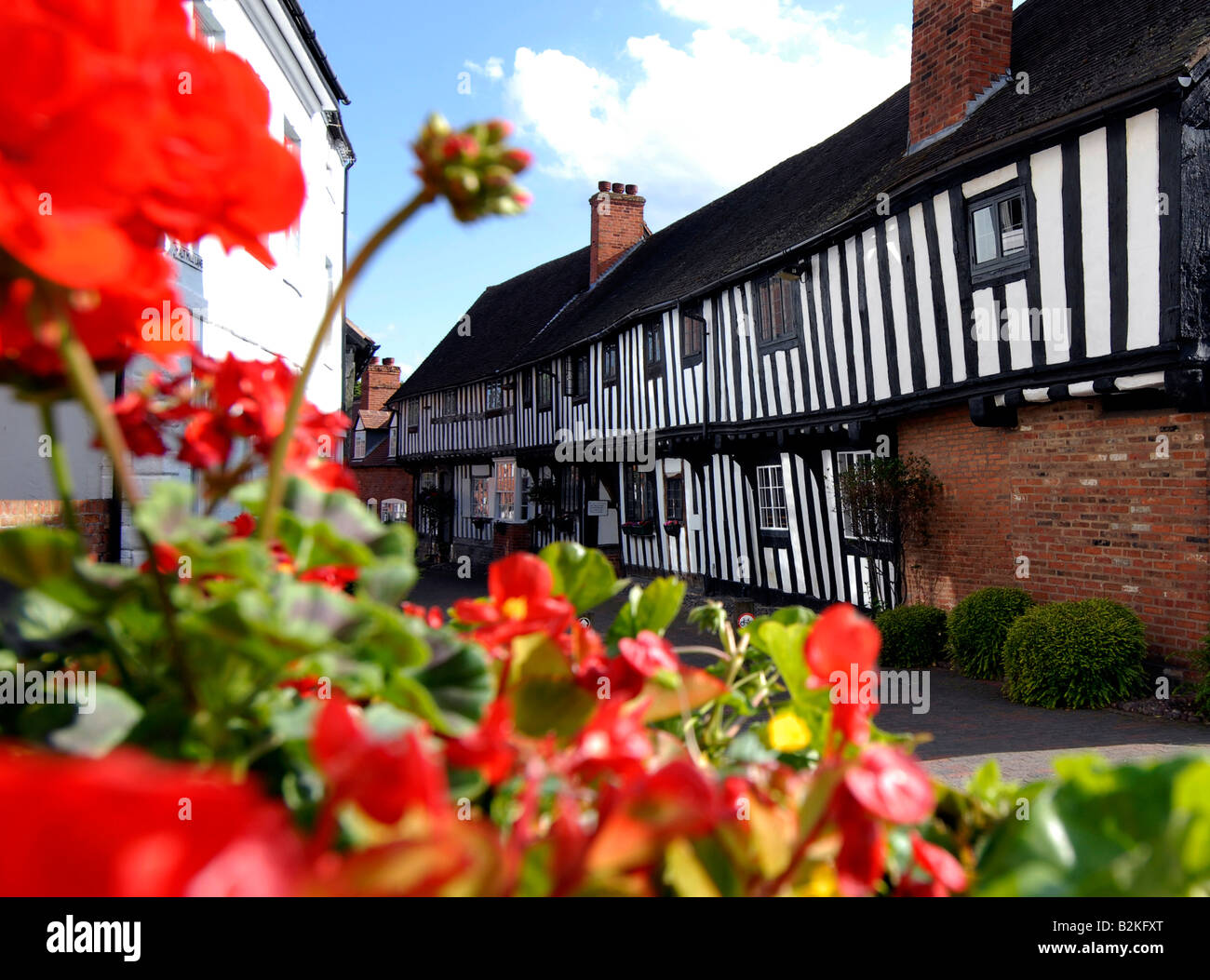 Exterior of timber framed buildings in Malt Mill lane Alcester Warwickshire U K - Stock Image
