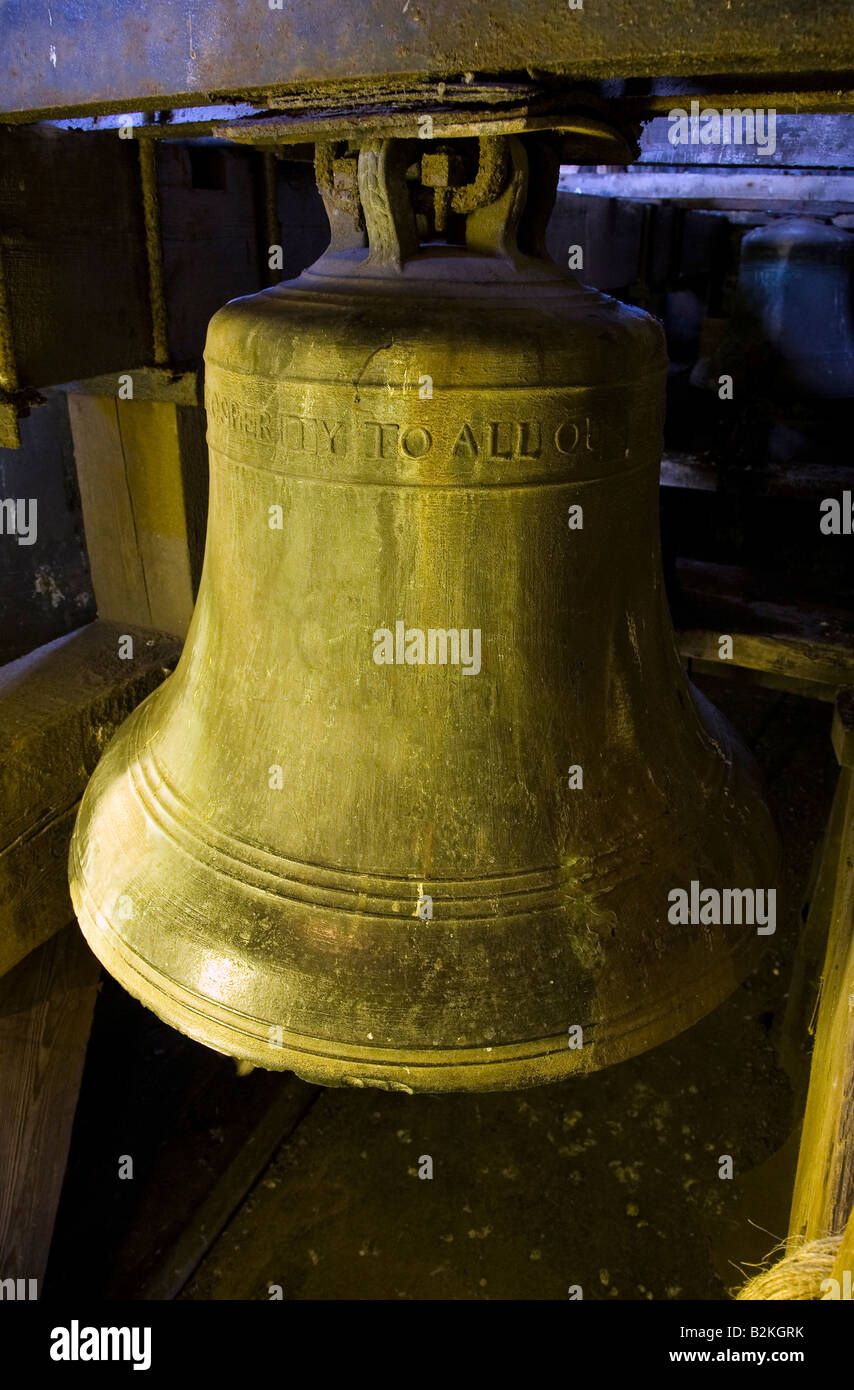 Using the Ellacombe bell ringing apparatus, One of the Eight Shandon Bells Hanging in St Anne's 18th Century - Stock Image