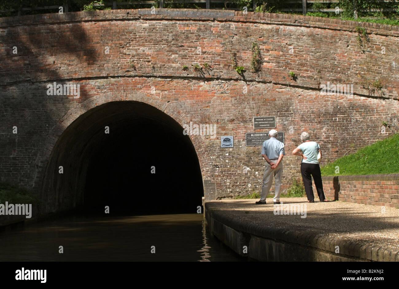 Blisworth Tunnel entrance on the Grand Union Canal at Stoke Bruerne Northamptonshire England UK - Stock Image