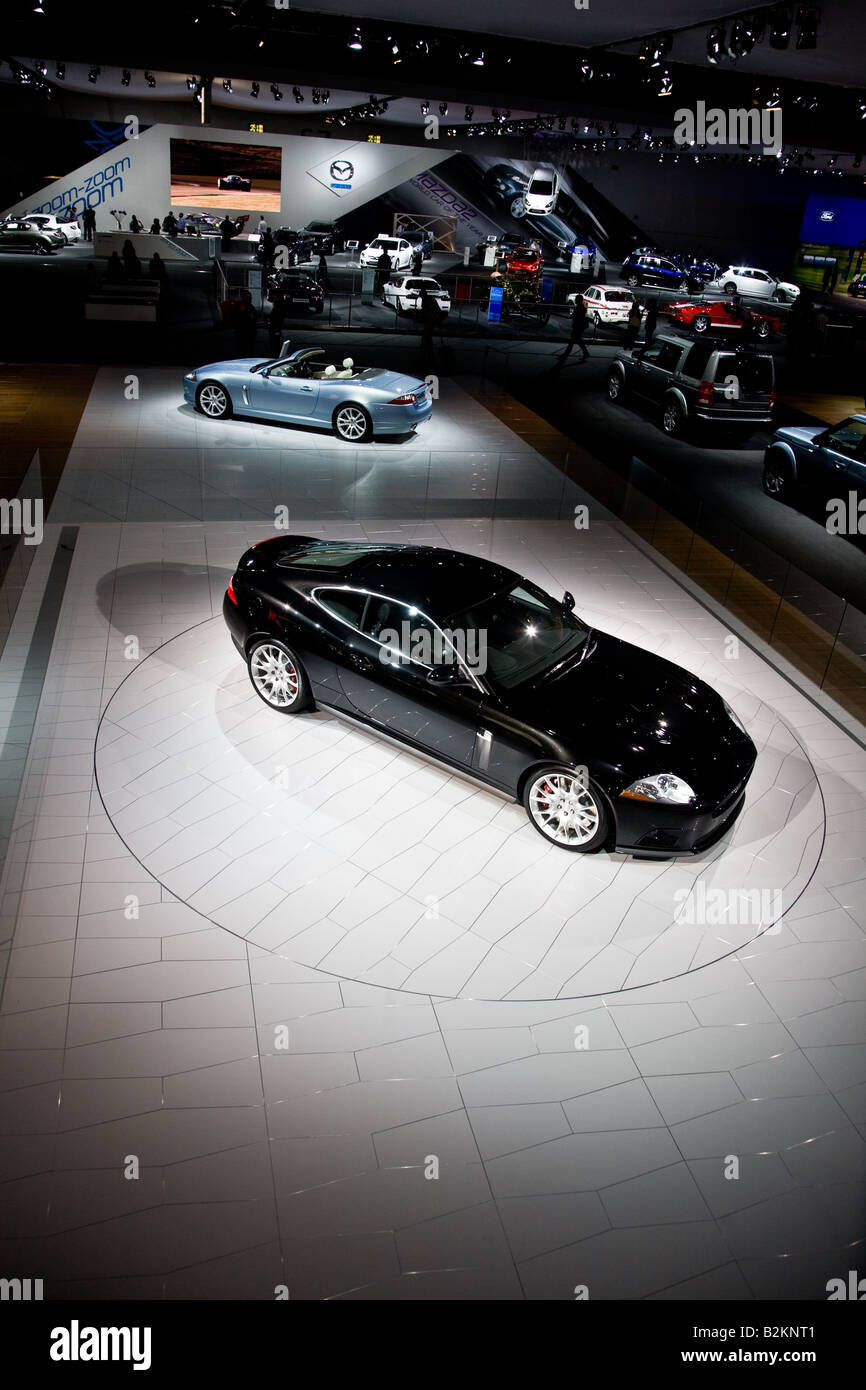 The jaguar stand at the London Motorshow - Stock Image