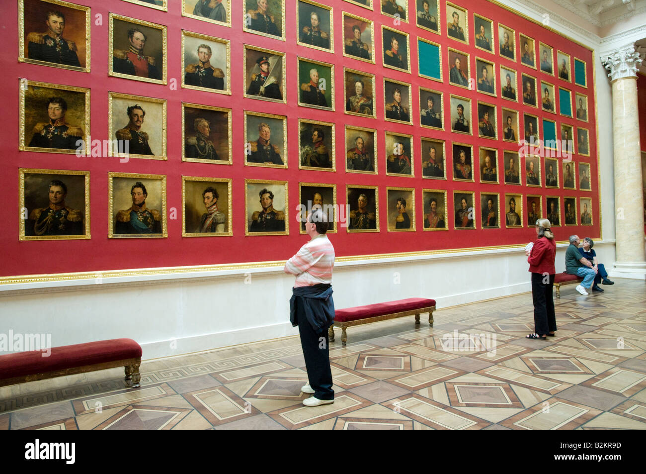 Rows of military portraits in the Winter Palace of the State Hermitage Museum, St Petersburg, Russia - Stock Image