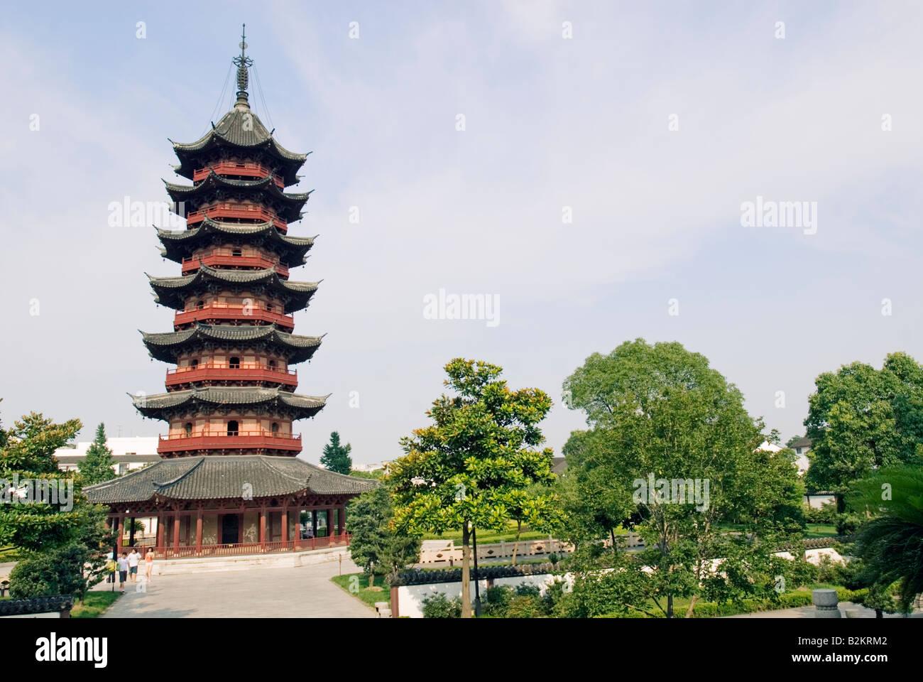 China, Suzhou, Panmen Gate, Auspicious Light Pagoda, Jiangsu Province - Stock Image