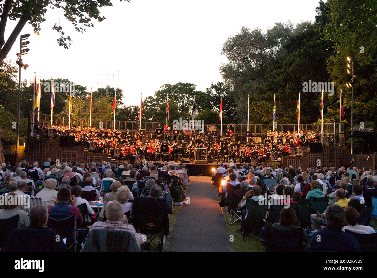 Concert in the Park, Royal Military School of Music, Kneller Hall, Twickenham, Middlesex, UK. Wednesday 30th July - Stock Image