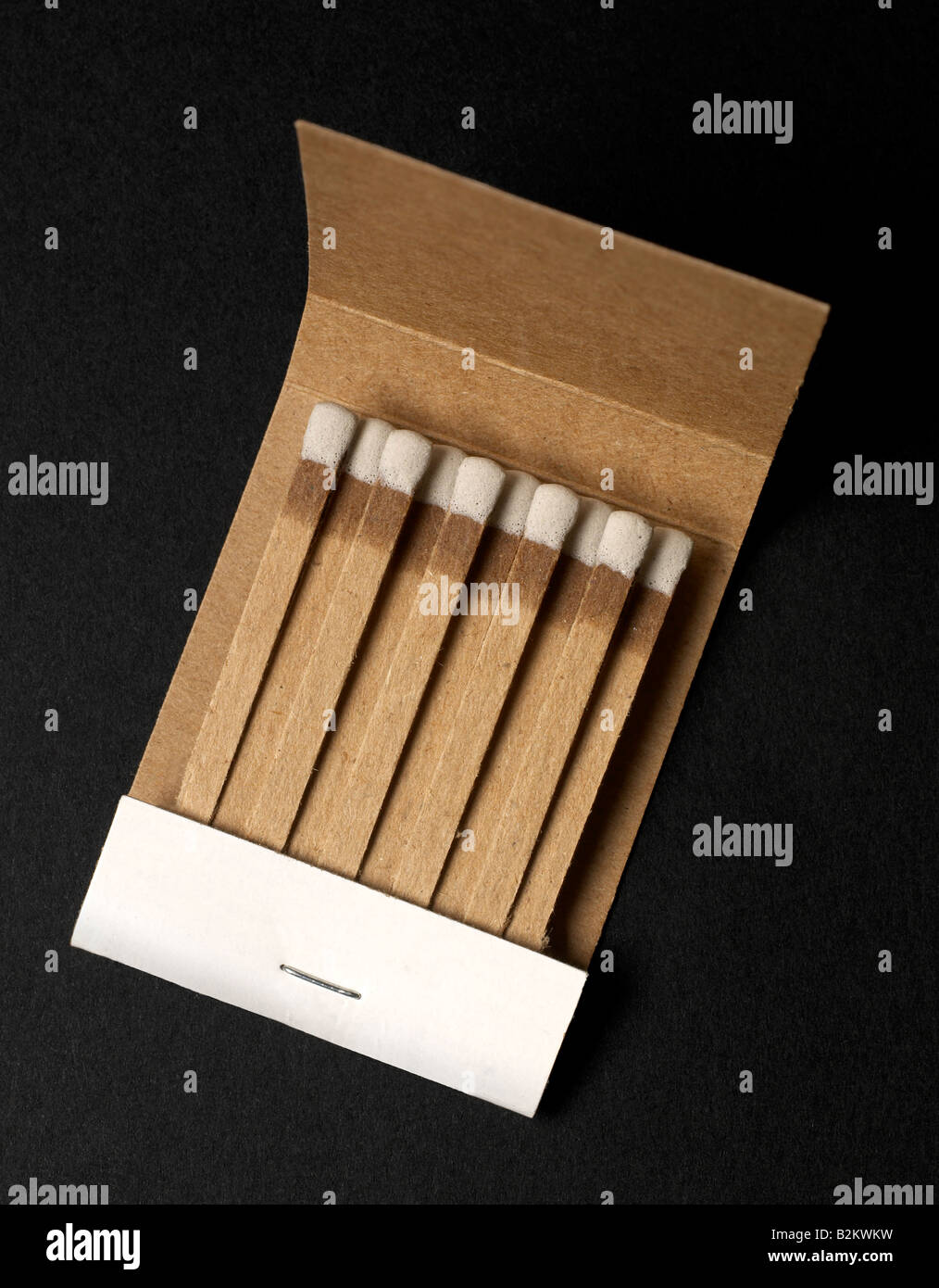 book of matches on black - Stock Image