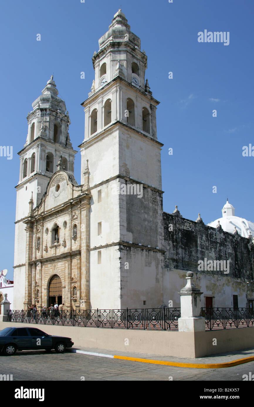 Cathedral of Nuestra Senora de la Concepcion, Campeche, Yucatan Peninsular, Mexico. Stock Photo