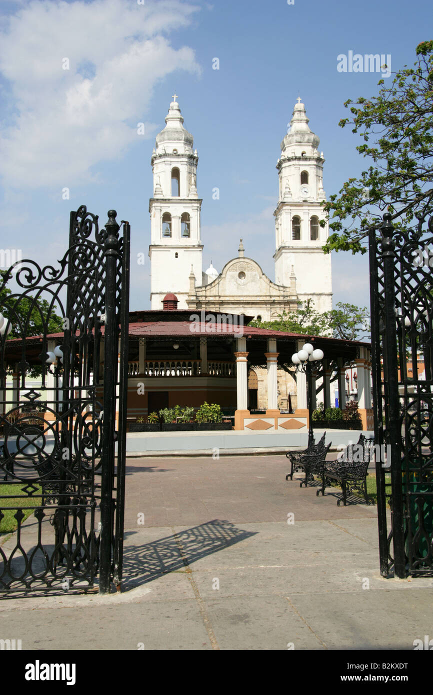 Cathedral of Nuestra Senora de la Concepcion and Main Plaza, Campeche, Yucatan Peninsular, Mexico. Stock Photo