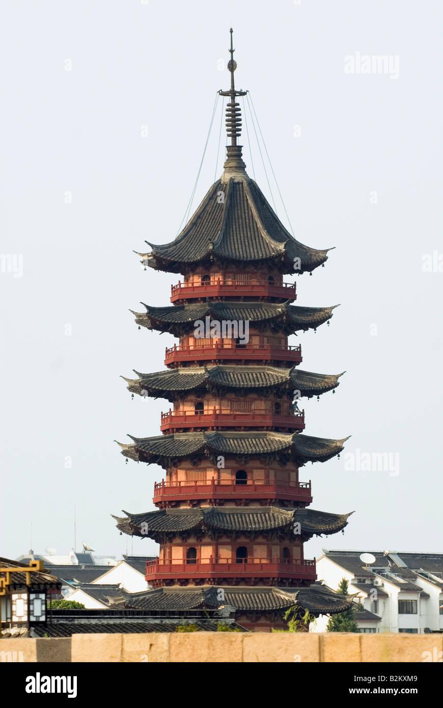 China, Suzhou, Ruiguang Pagoda, Auspicious Light Pagoda, Panmen - Stock Image