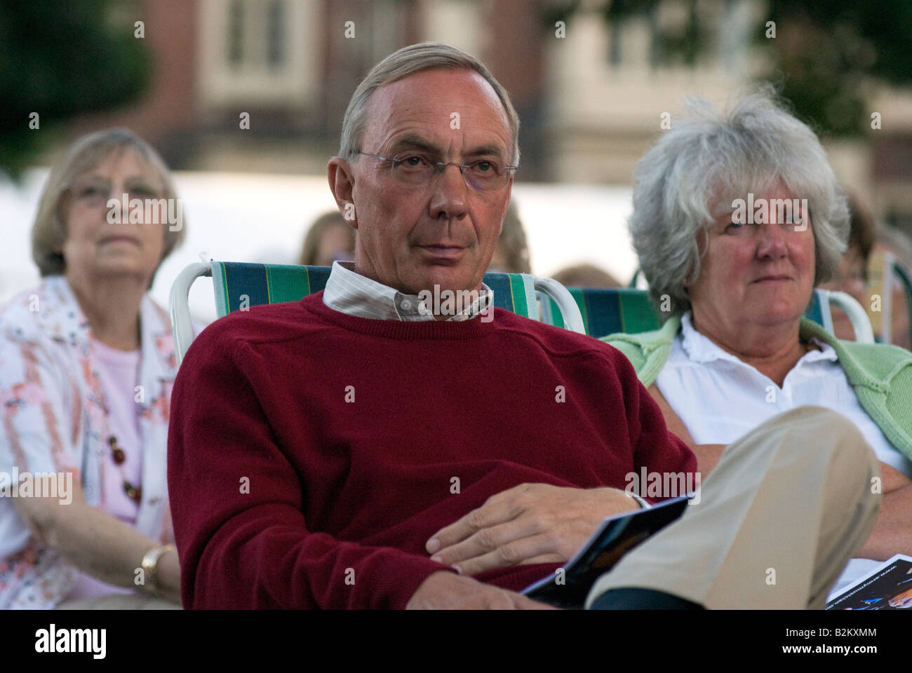 Audience at Concert in the Park Royal Military School of Music Kneller Hall Twickenham Middlesex UK Wednesday 30th - Stock Image