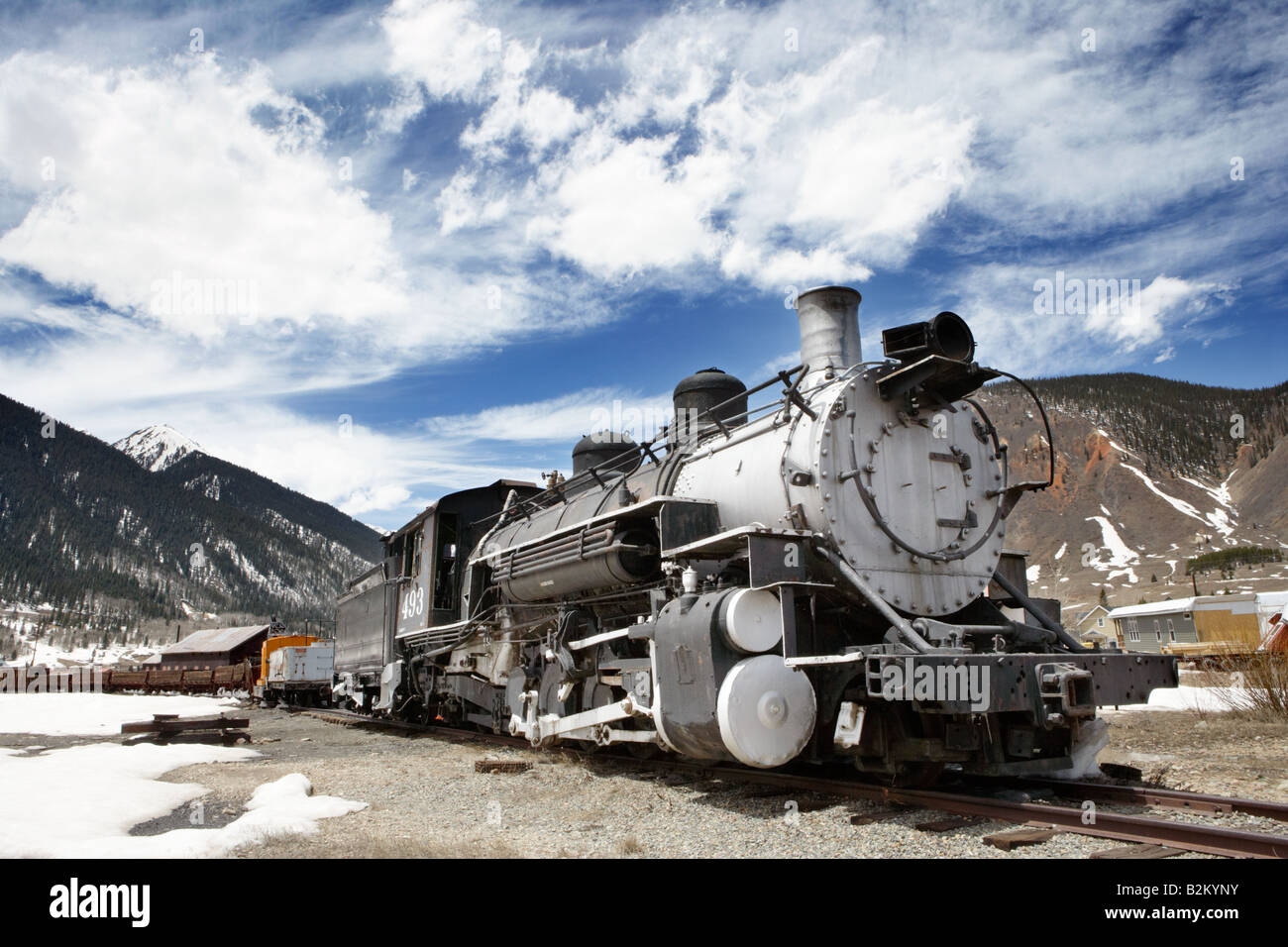 Old Locomotive Engine at Silverton in Colorado USA - Stock Image