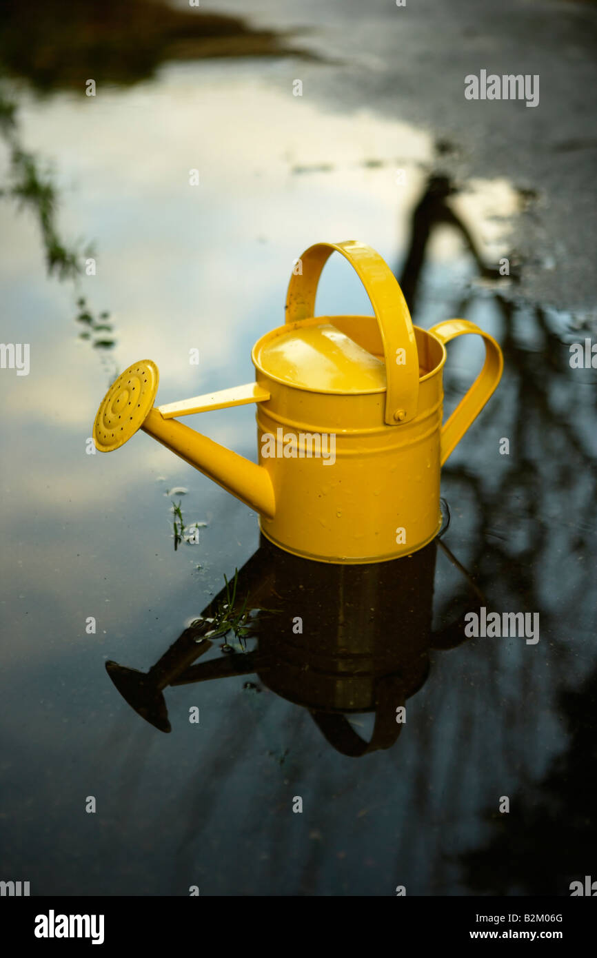 Yellow painted steel watering can in a puddle - Stock Image