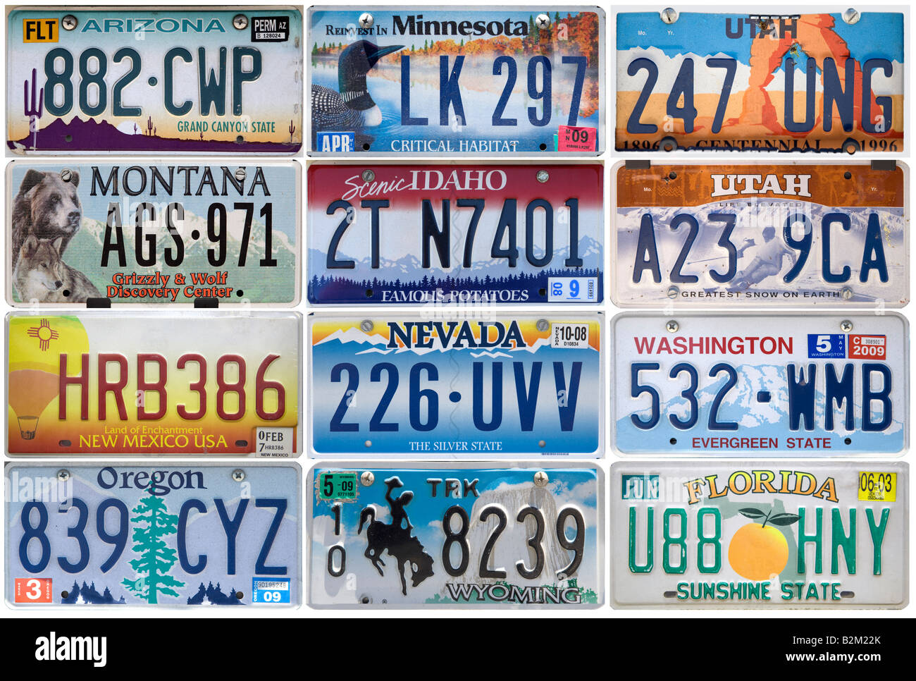 Montage of US car number plates Stock Photo: 18880363 - Alamy