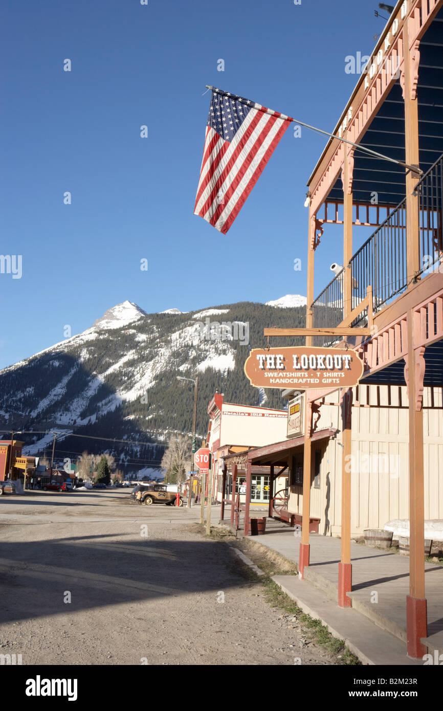 Notorious Blair Street in Silverton Colorado USA - Stock Image