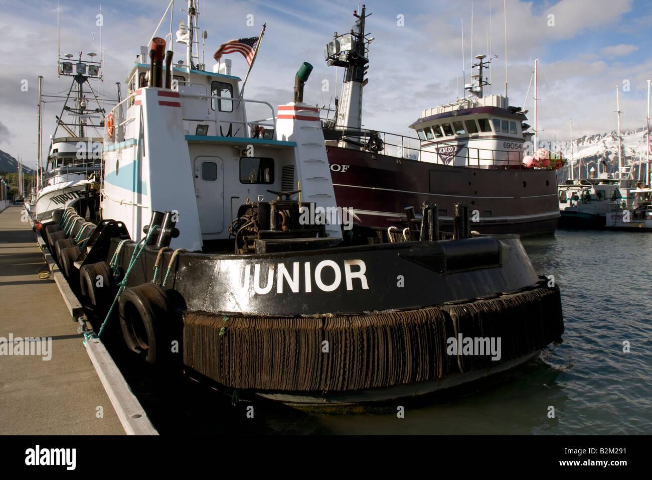 Towboat in Seward Harbour, Alaska - Stock Image