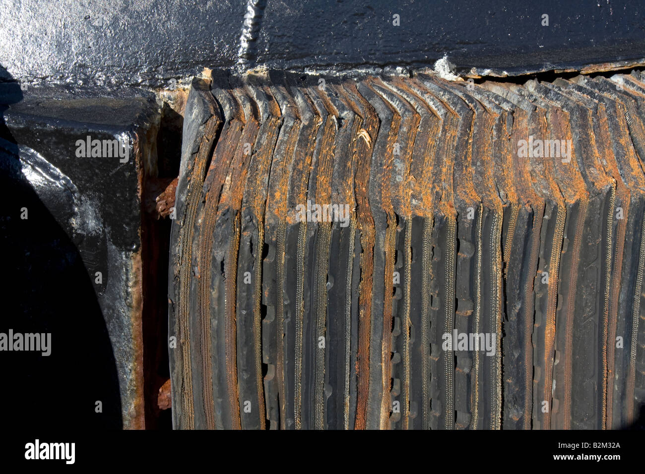 Detail of a bumper to a towboat - Stock Image