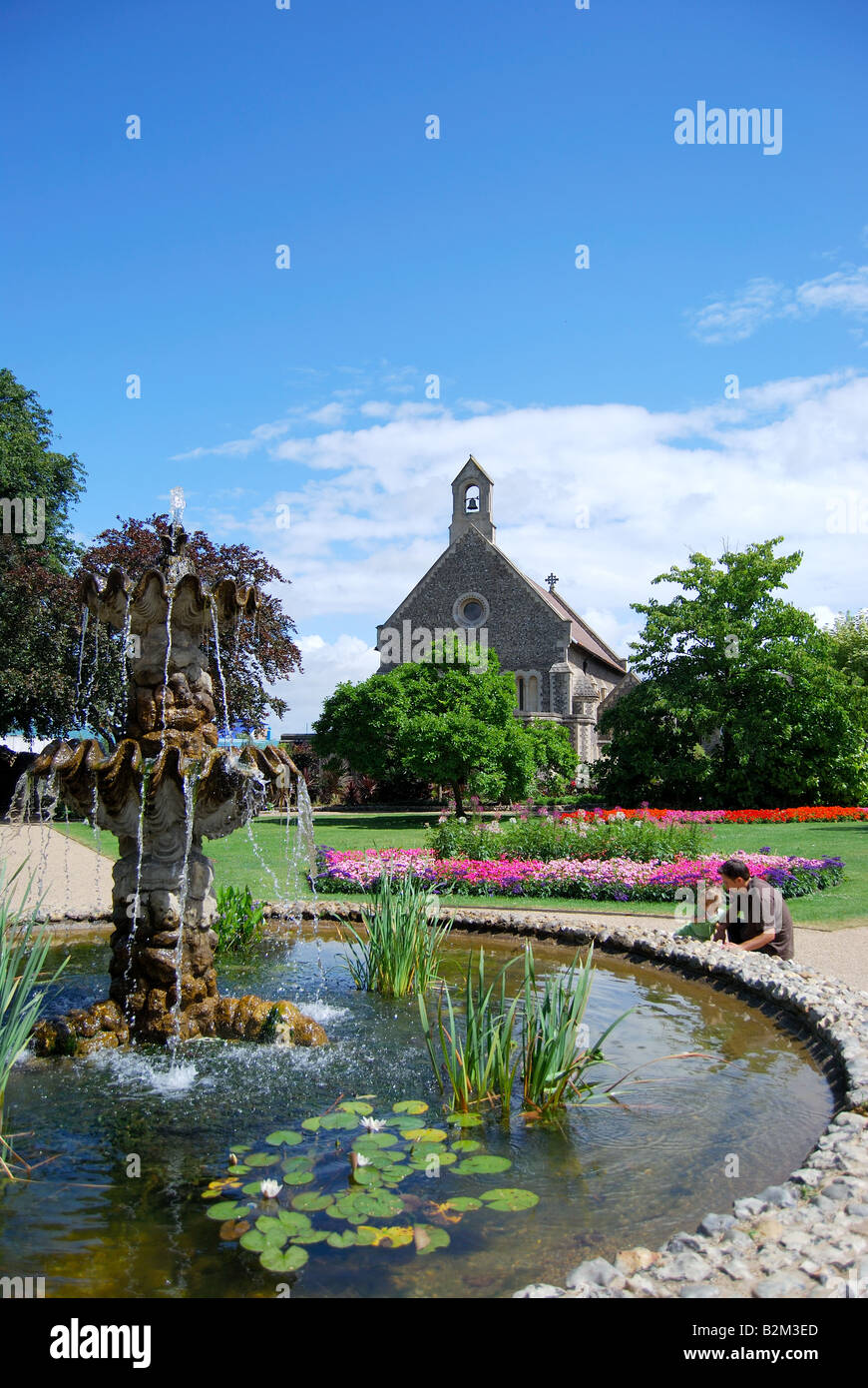Fountain and pond, Forbury Gardens, Reading, Berkshire, England, United Kingdom Stock Photo