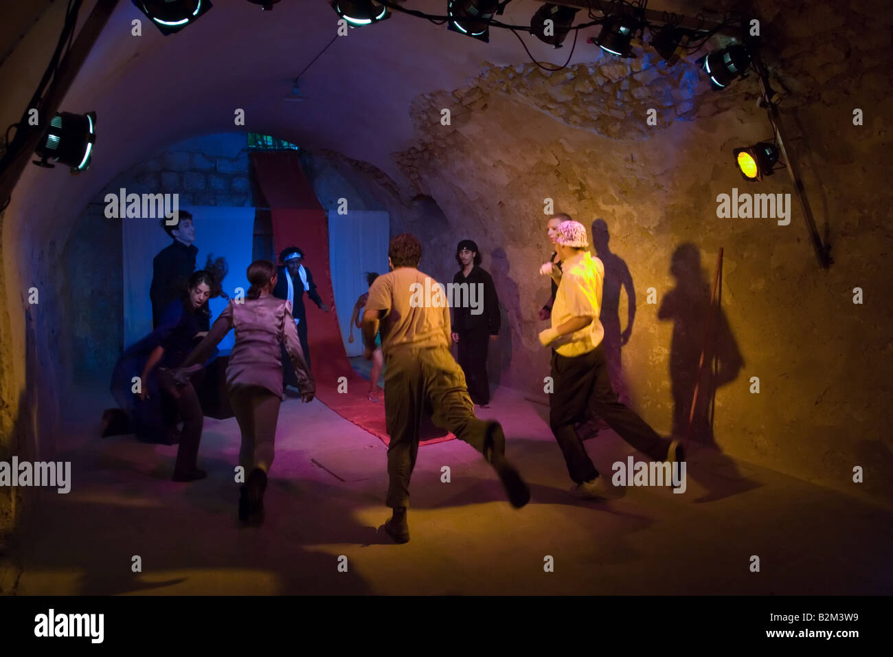 Martef Theatre Actors Warm Up for Faust by Johann Wolfgang von Goethe - Stock Image