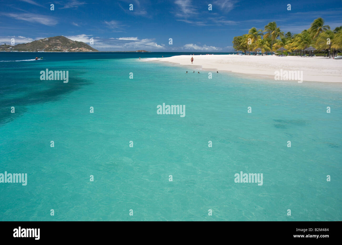 Palm Island part of St Vincent and the Grenadines in the Caribbean This is a view of Casuarina Beach at the Coco - Stock Image
