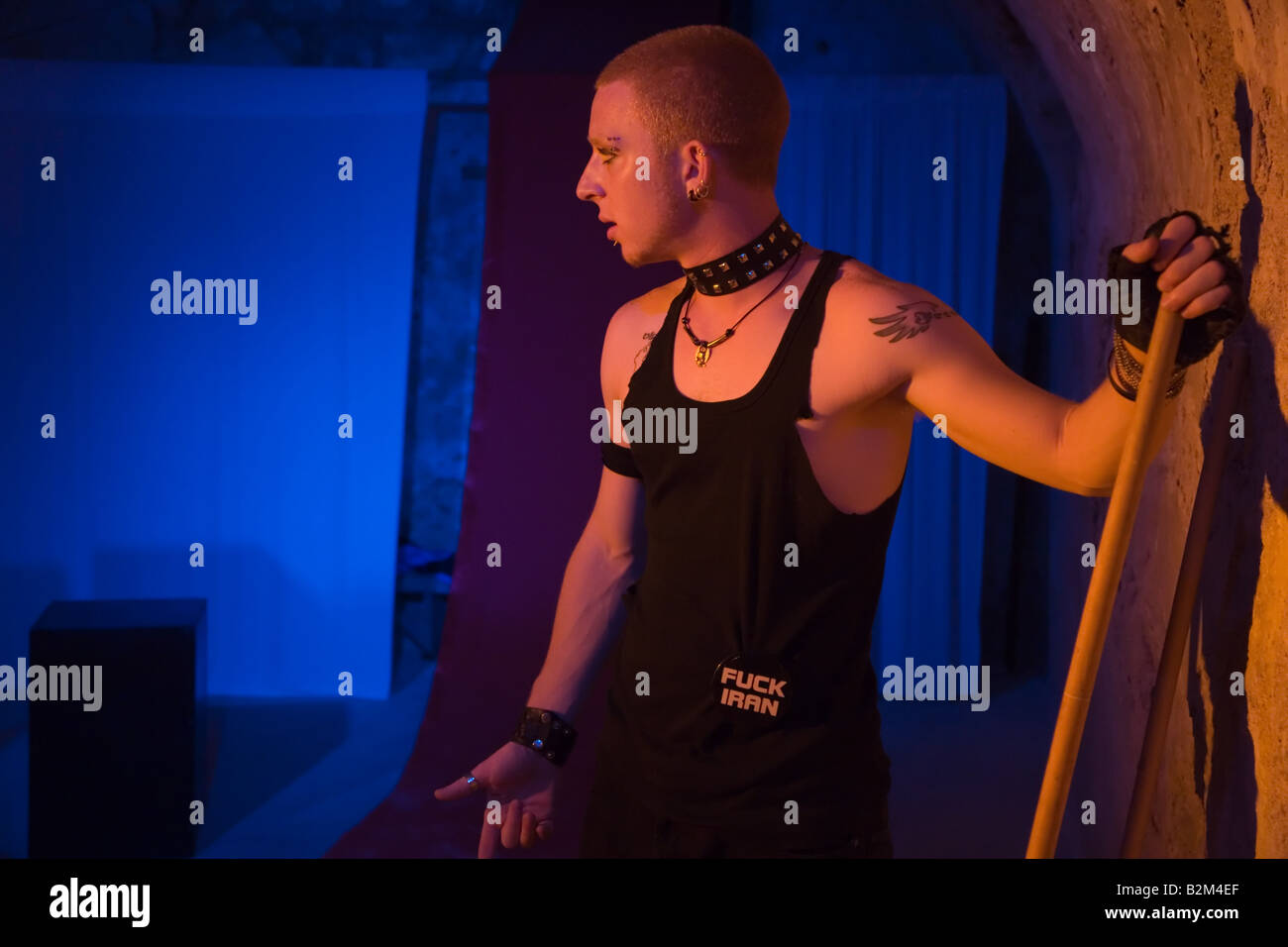 Actor Eyal Ackerman of the Martef Theatre in Faust by Johann Wolfgang von Goethe - Stock Image