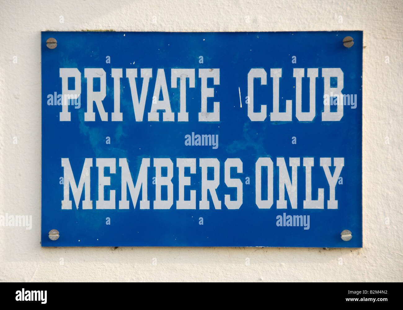 private club members only sign - Stock Image