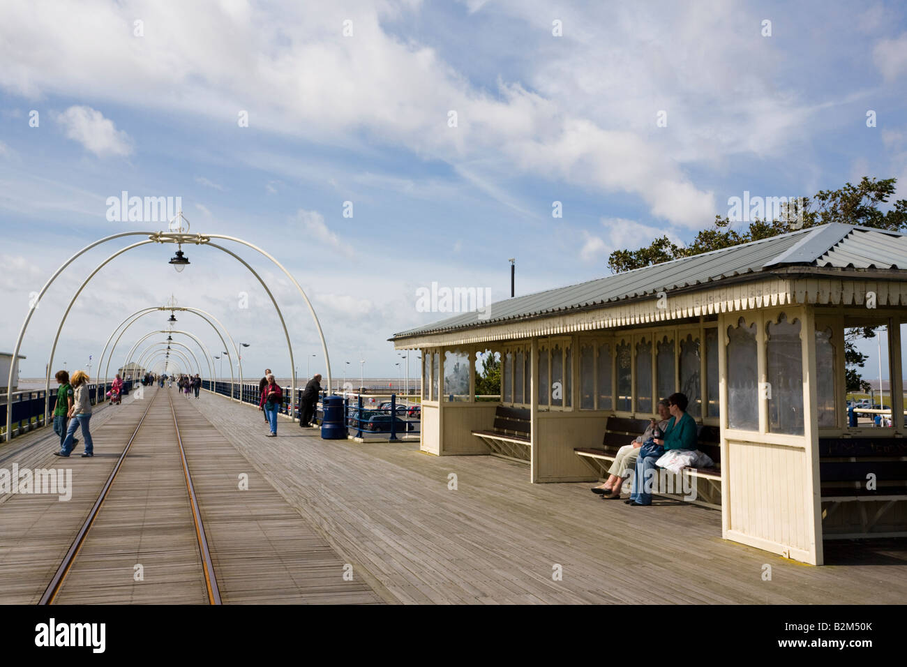 Southport Merseyside England UK. Pier and shelter in seaside resort in summer - Stock Image
